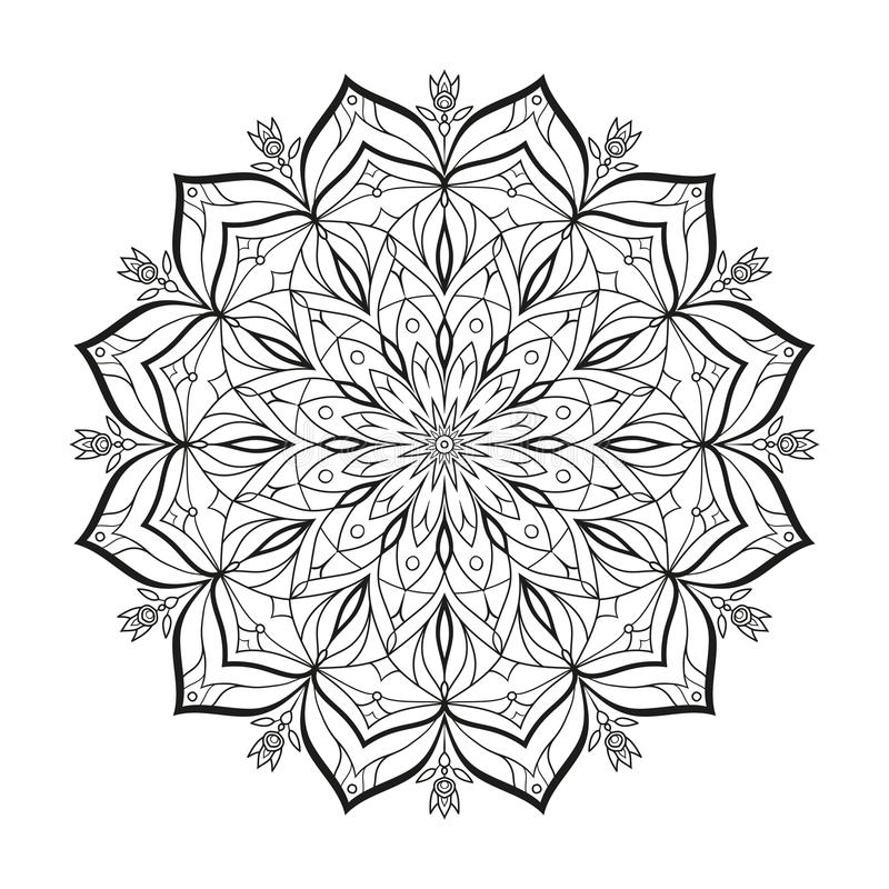 Download Flower Monochrome Vector Mandala Is Isolated On A White Background Decorative Element With East