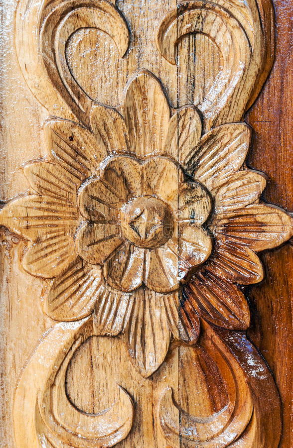 Flower motifs carved stock image