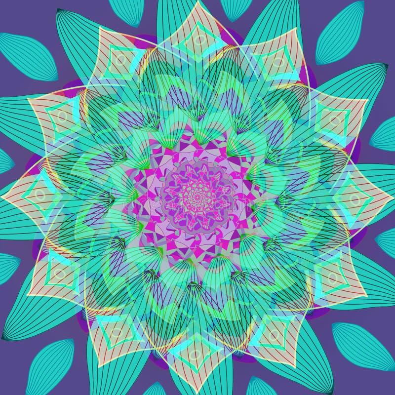 FLOWER NET MANDALA. PLAIN VIOLET BACKGROUND. CENTRAL FLOWER IN PURPLE, TURQUOISE, ORANGE, GREEN, AQUAMARINE stock illustration