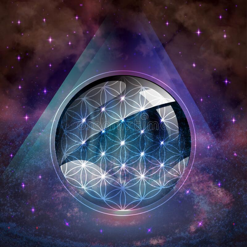 Free Flower Of Life Symbol, Portal, Life Soul Journey Through Abstract Universe Doorway Stock Photos - 181894223
