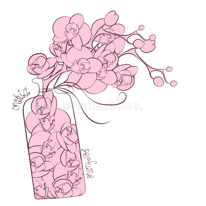 Flower orchid decoration perfume flask design stock illustration