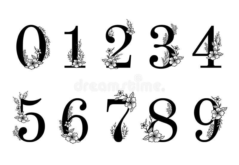 Flower Ornate Numbers. Elegant Blossom Number, Floral Sprigs Date And Numeric Monogram Vector Illustration Set Stock Vector - Illustration of numeric, figure: 144324363