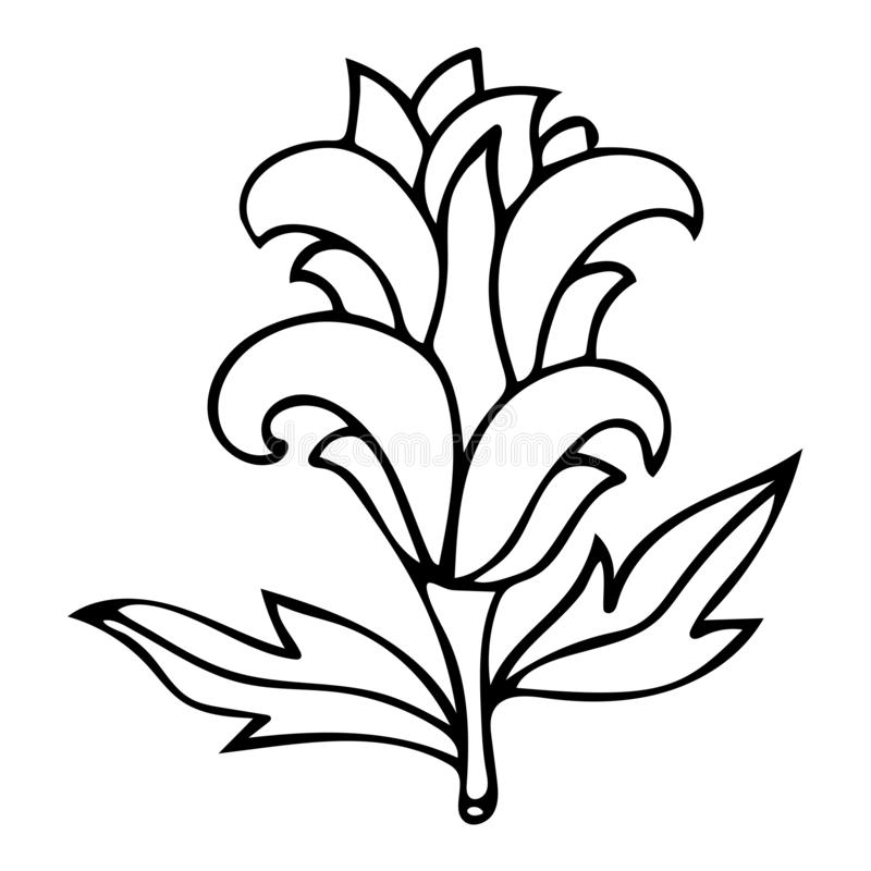 Outline fantasy flower with curly petals for coloring book for adults isolated on white. Background. Vector illustration stock illustration