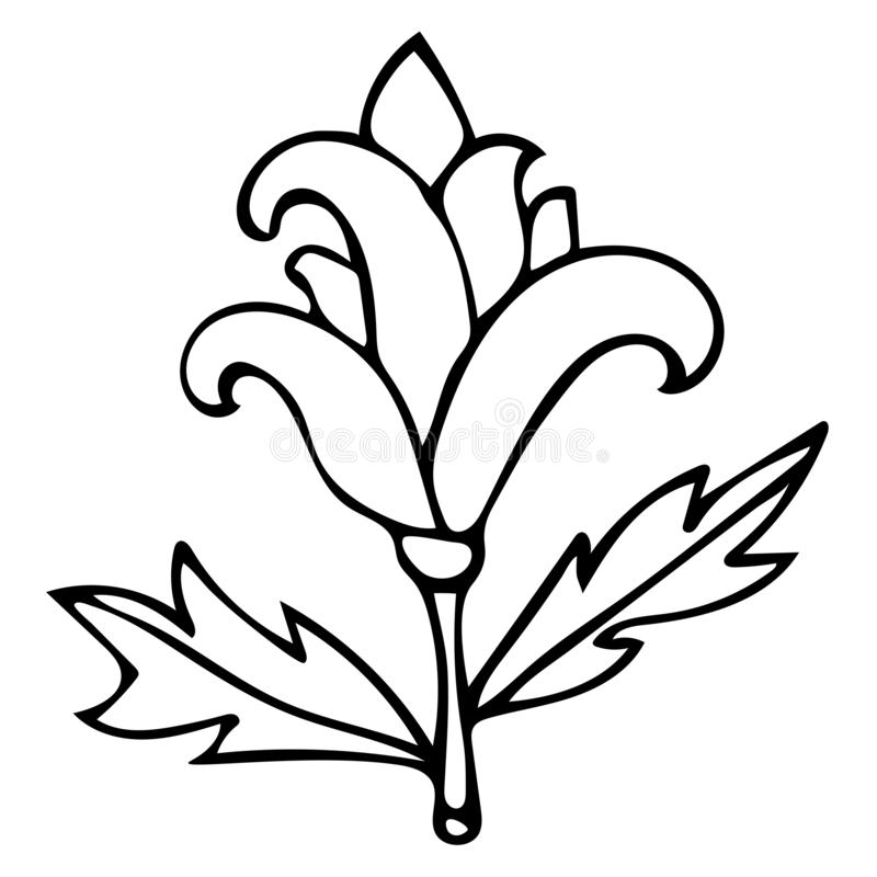 Outline fantasy flower with curly petals for coloring book for adults isolated. On white background. Vector illustration vector illustration