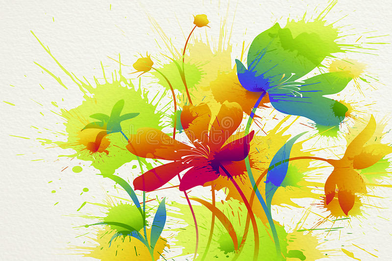Flower painting. Colorful flower painting at wall as background stock images