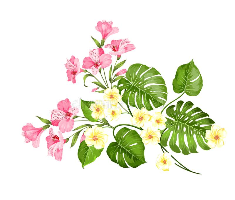 The flower paradise. Summer illustration with bouquet of green palm leaves and blooming flowers. Beautiful garland for stock illustration