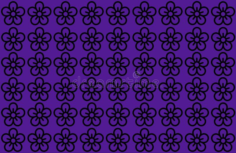 Flower Pattern with Blue Background. Petals Design spread over clear background. Use Articles, Printing, Illustration, background. Flower Pattern with Purple vector illustration