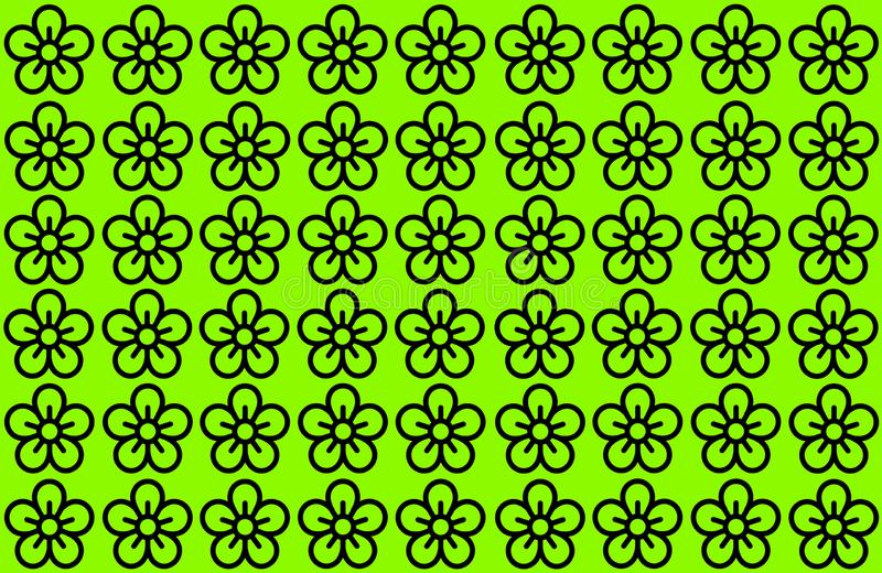 Flower Pattern with Green Background. Petals Design spread over clear background. Use Articles, Printing, Illustration, background. Website, businesses royalty free illustration