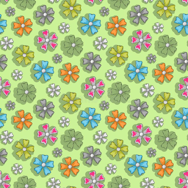 Flower pattern on a green background royalty free illustration