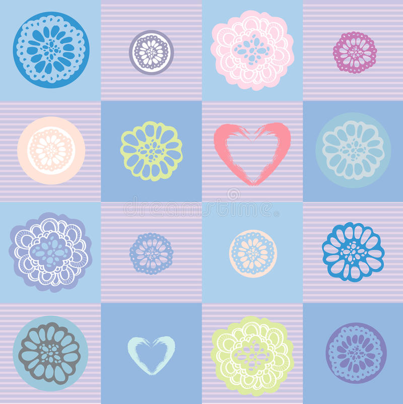 Flower pattern with hearts on a checkered background