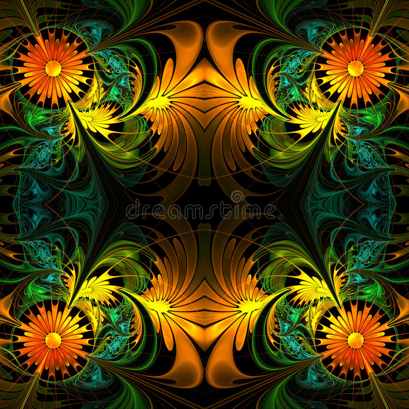 Free Flower Pattern. Orange, Green And Black Palette. Fractal Design. Stock Photo - 49211340