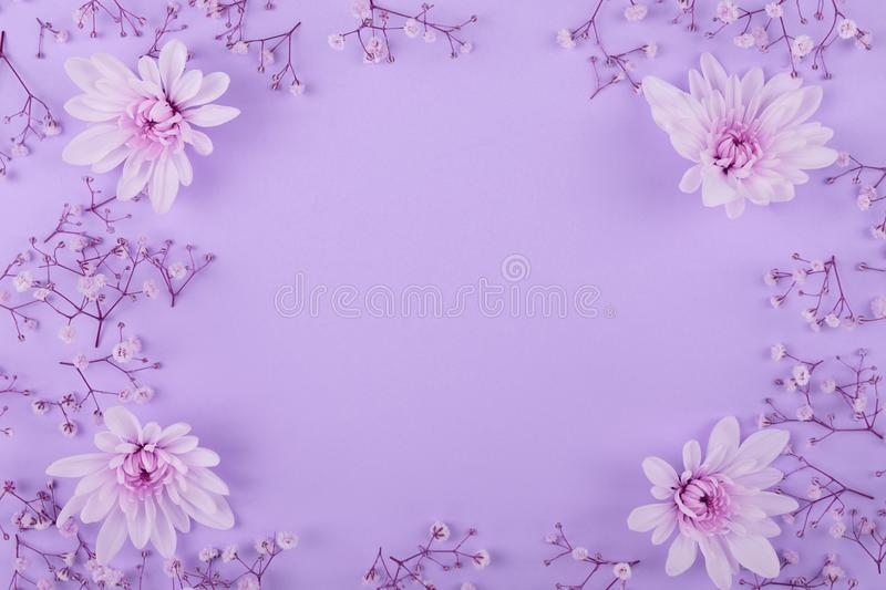 Flower pattern on the pink background stock image