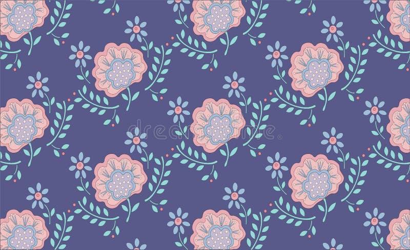 Flower pattern pink buds green leaves on lilac background vector illustration