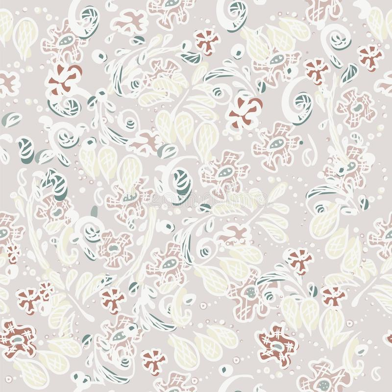 Flower pattern. Seamless design for wallpaper in doodle style. Abstract natural ornament for textiles vector illustration