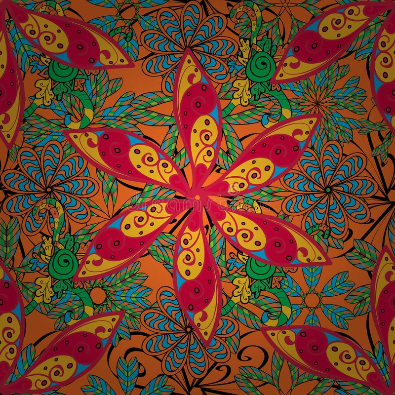 Abstract superb picture. Flower pattern seamless on orange, yellow and pink colors, hand-drawn chamomiles, daisies. Repeating floral backdrop, Elegant orange stock illustration