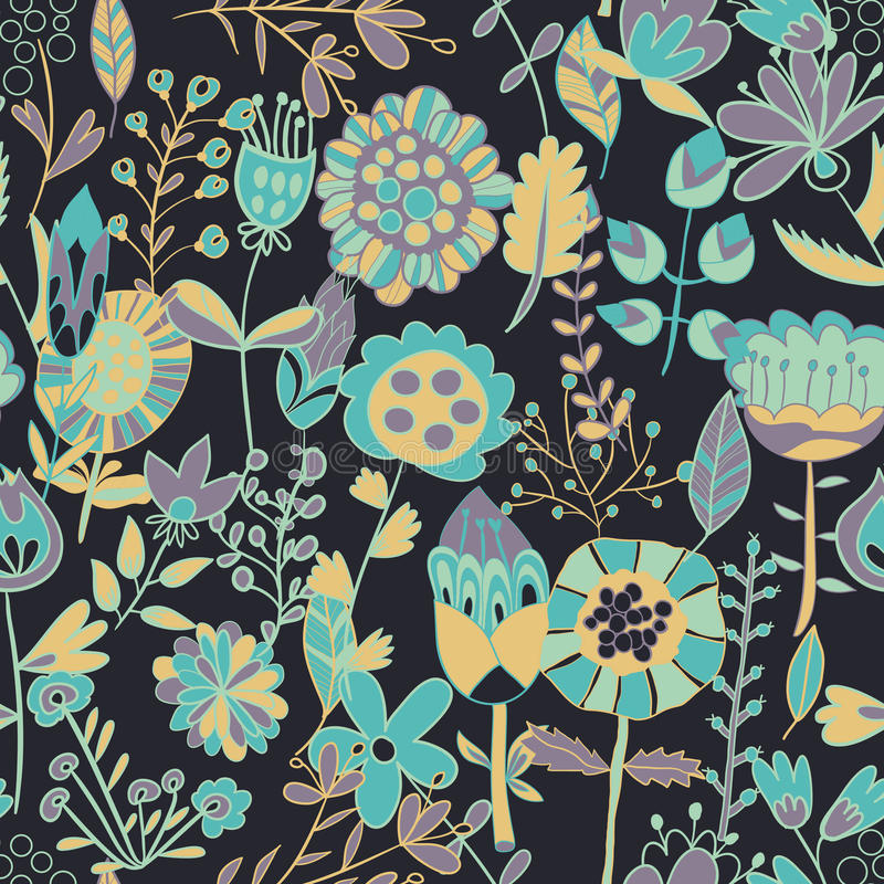 Flower pattern, seamless texture. Endless floral pattern. Can be used for wallpaper, pattern, backdrop, surface textures. Full color seamless floral background stock illustration
