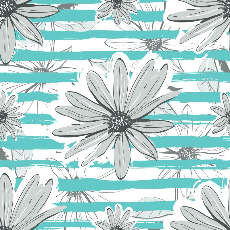 Flower pattern seamless Turquoise striped background. Hand-drawn chamomile, floral backdrop stock illustration