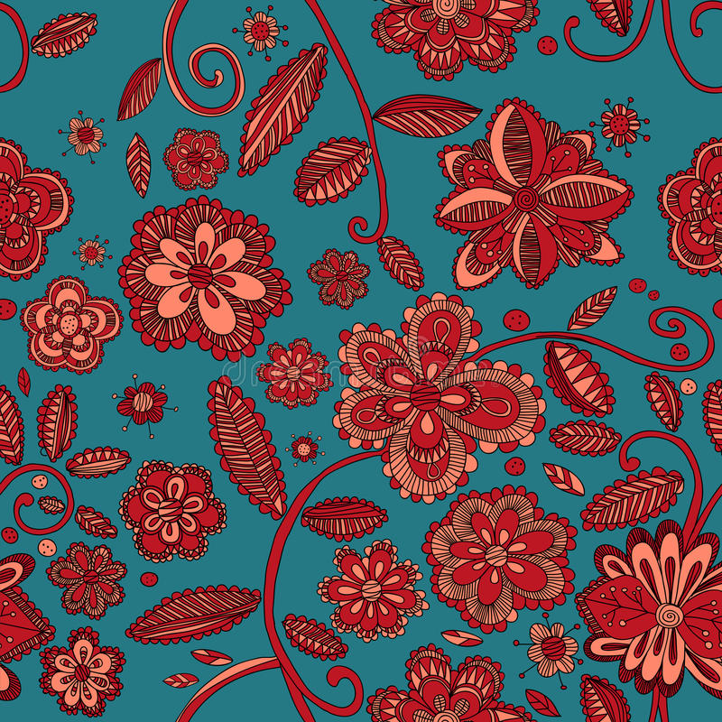 flower pattern seamless vector vektor illustrationer