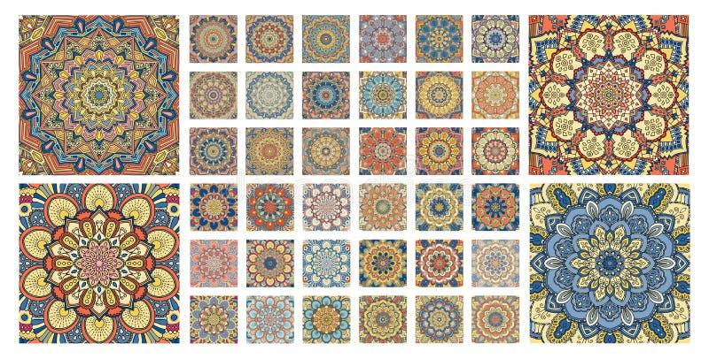 Flower pattern tiles set. Intricate floral ornament. Round decorative elements vector illustration