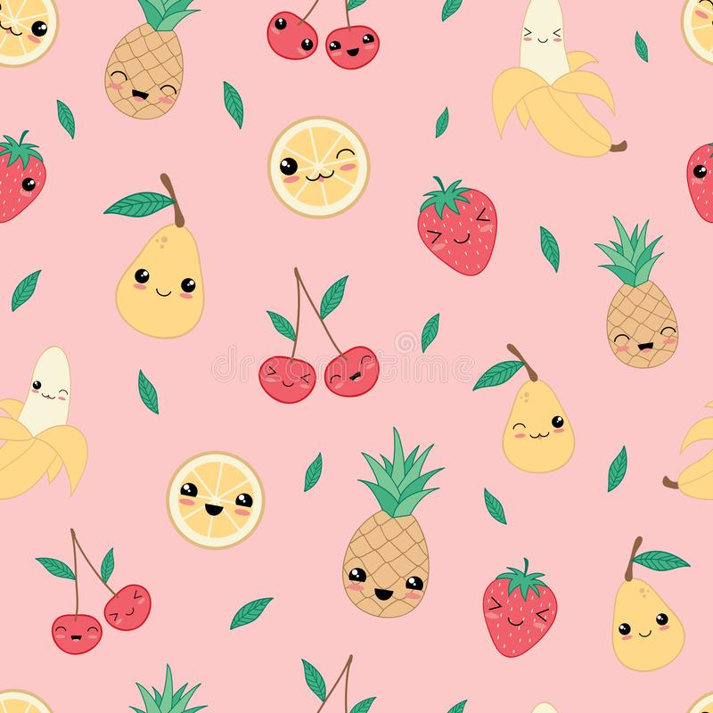 Kawaii happy fruit seamless pattern vector. royalty free illustration