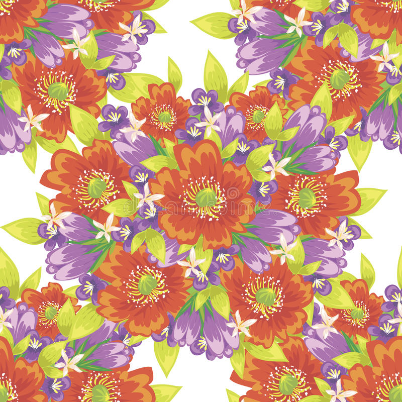Flower pattern. Vector seamless background with flowers vector illustration
