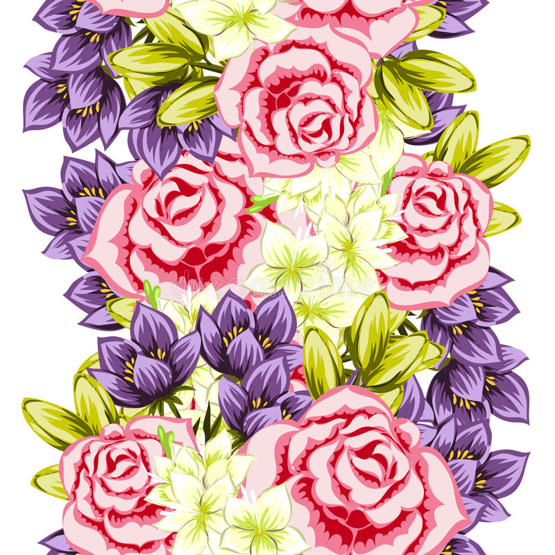 Flower pattern. Vector seamless background with flowers royalty free illustration