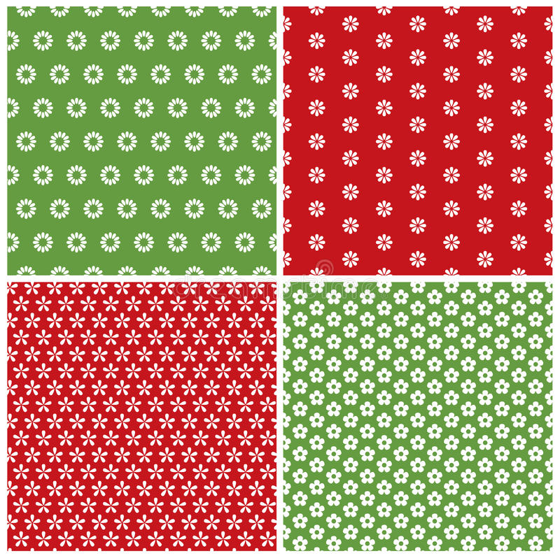 Flower patterns. Collection of flower seamless patterns royalty free illustration