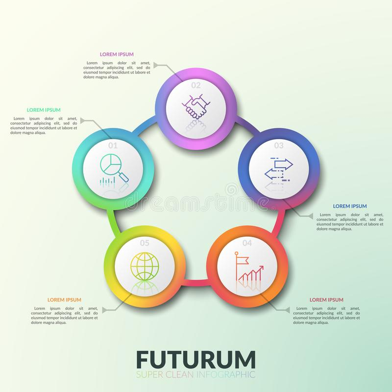 Flower petal diagram, 5 connected circular elements with numbers, thin line icons and text boxes. Round chart with five. Options. Modern infographic design royalty free illustration