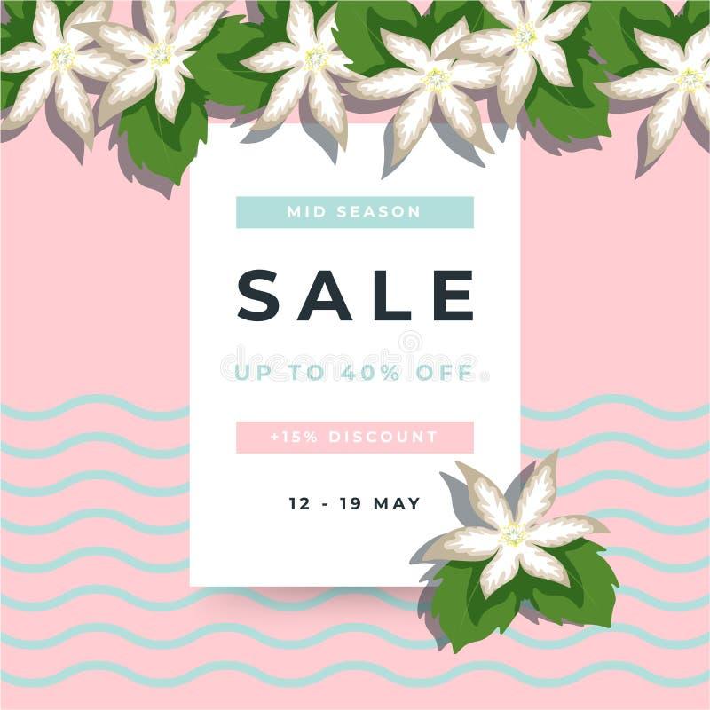 Flower petal and green leaf on pink background. 40% Sale banner template design. Big sale special offer. Special offer banner for royalty free illustration