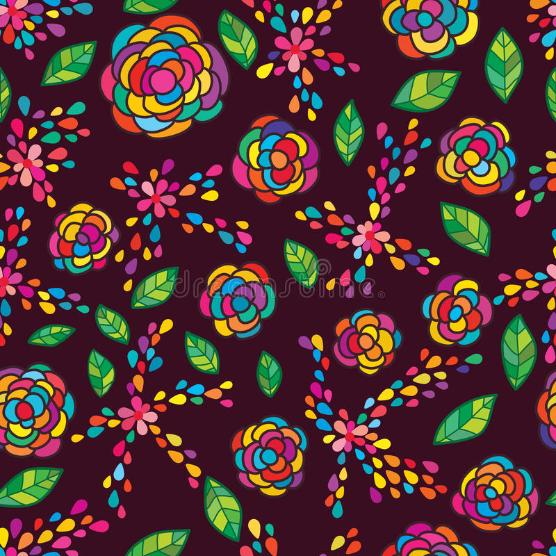 Flower petal leaving seamless pattern. This illustration is design and drawing abstract flower petal leaving colorful drop, flowers and leaf decoration in stock illustration