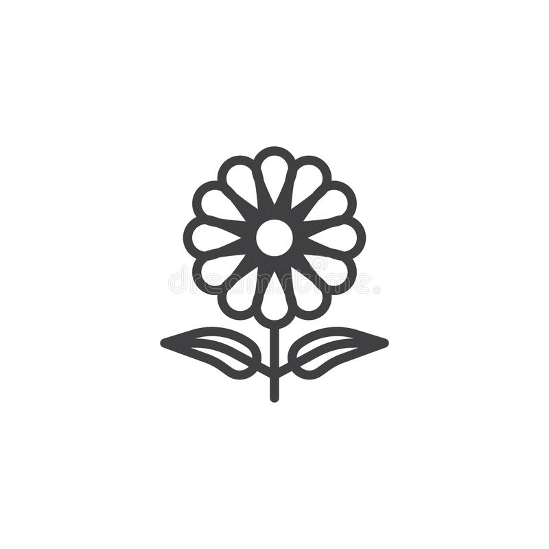Flower petal line icon. Linear style sign for mobile concept and web design. Chamomile flower outline vector icon. Symbol, logo illustration. Pixel perfect royalty free illustration