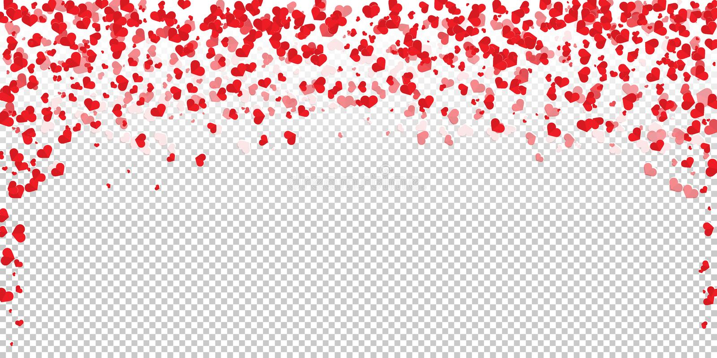 Flower petal in shape of heart confetti. Trendy flat heart confetti of Valentines petals falling on transparent background. Flower petal in shape of heart royalty free illustration