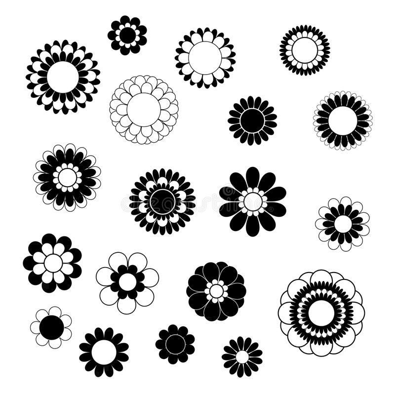 Flower petals overlapping black and white vector stock illustration