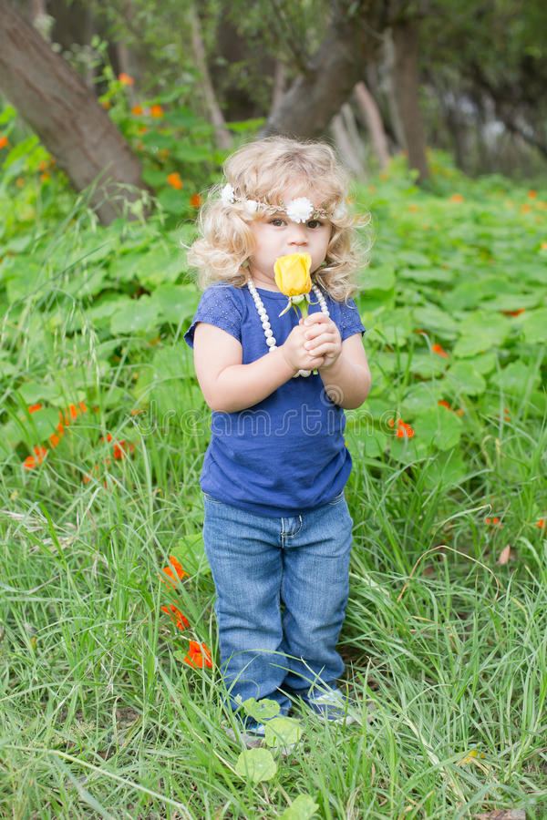 Flower picking royalty free stock images