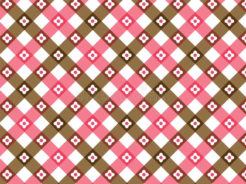 Download Flower Pink And Brown Plaid Stock Vector - Image: 3331940