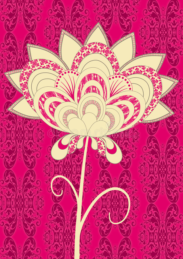 flower pink single stylized royaltyfri illustrationer