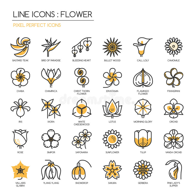 Flower, Pixel perfect icons vector illustration
