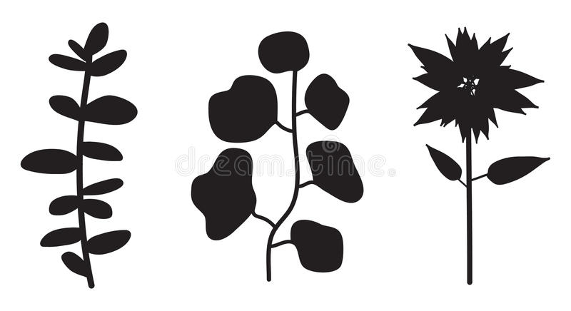 Flower Plant Vector Silhouette royalty free illustration