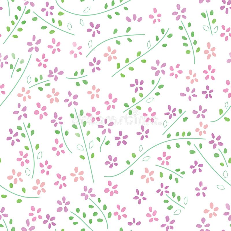 Flower plant watercolor purple green color seamless pattern vector illustration
