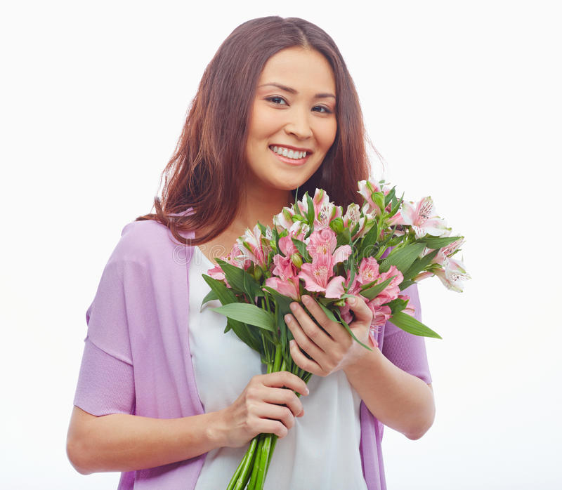 Woman Enjoying At Beach Stock Image Image Of Pleasure: Smell Of Flowers Stock Image. Image Of Served, Pretty