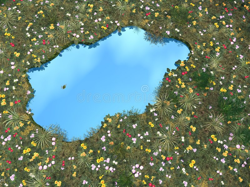 Flower_Pond. Small pond bordered by blossom flowers - digital artwork royalty free illustration