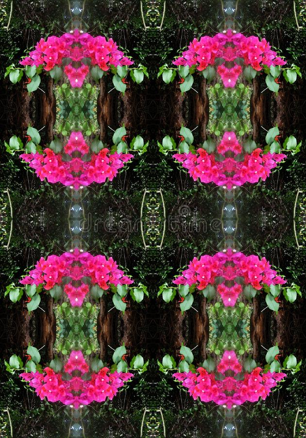 FLOWER POSY REPEAT PATTERN. Image of a pink flower posy with green leaves in a repeat pattern royalty free stock photos