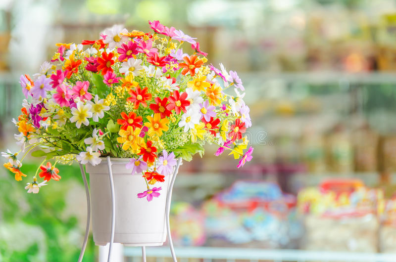 Flower pot. Bouquet of brightly colored flowers in pot stock photography