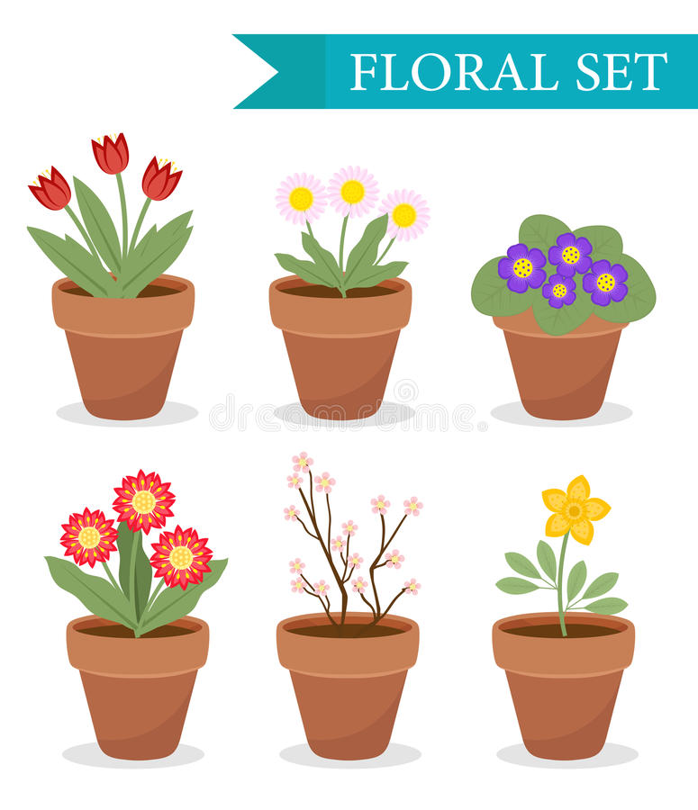 Flower pot with different flowers set, flat style. Flowerpot Collection isolated on white background. Vector. Illustration, clip art royalty free illustration