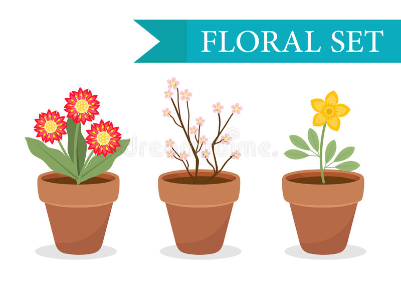 Flower pot with different flowers set, flat style. Flowerpot Collection on white background. Vector. Illustration, clip art stock illustration