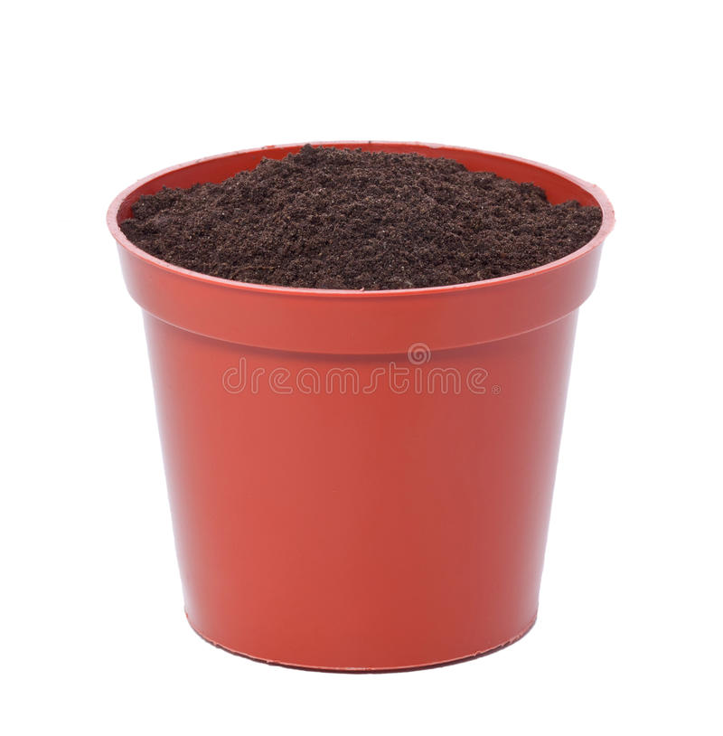 Flower pot. With ground soil isolated on white royalty free stock photo