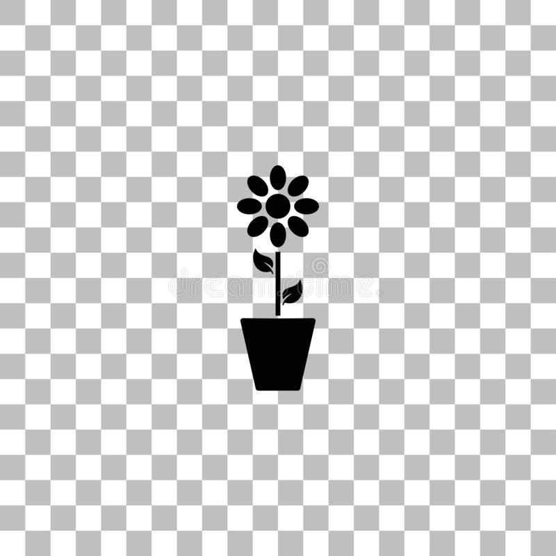 Flower pot icon flat stock illustration