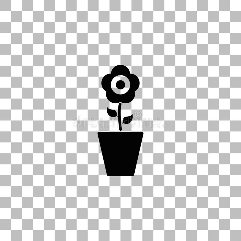 Flower in Pot icon flat royalty free illustration