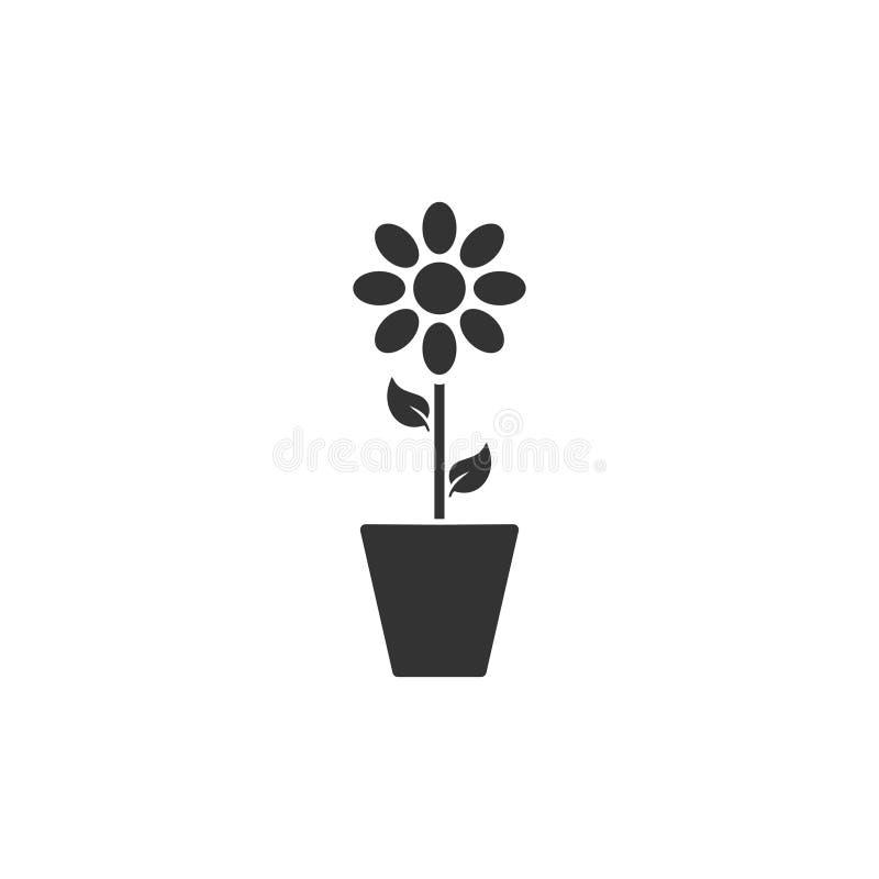 Flower pot icon flat vector illustration