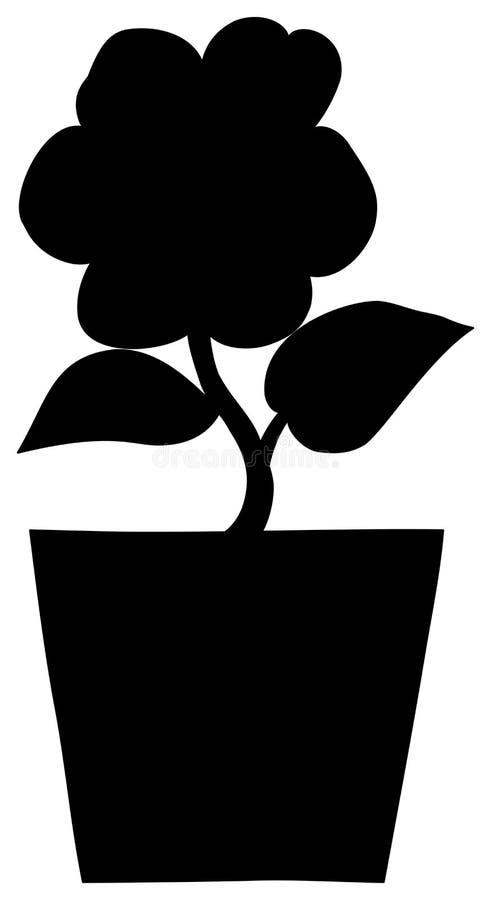 Flower in a pot silhouette stock illustration